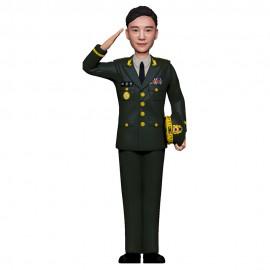 군인피규어 트로피/육군정복/경례자세
