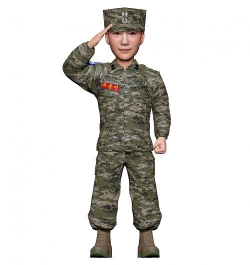 군인피규어 트로피/해병대전투복/경례
