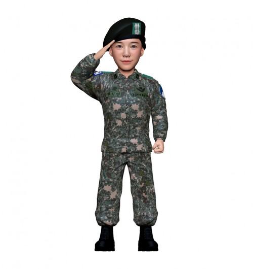 군인피규어 트로피/육군전투복/여군/경례