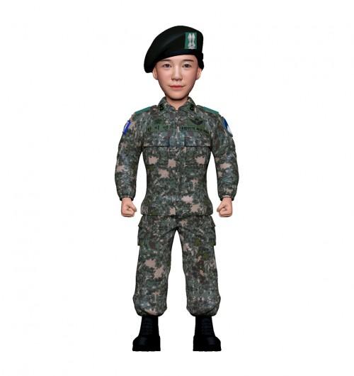 군인피규어 트로피/육군전투복/여군/기본자세